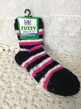 Soft Fuzzy 1 Pair Black Pink Comfy Patient Care Socks New