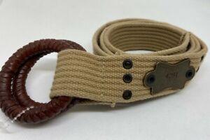 Polo Ralph Lauren Vintage Braided Leather Buckles Brass RL Plaque Khaki Belt 40