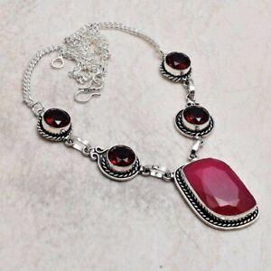 Ruby Garnet Ethnic Handmade Necklace Jewelry 26 Gms AN 94497