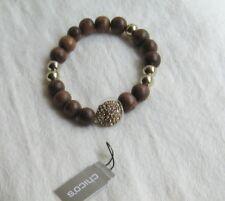 """Chicos Goldtone """"Tawny"""" Brown Bead/Yellow Stone Bead Stretch Bracelet"""