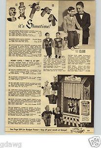 1960 PAPER AD Puppet Huckleberry Hound Yogi Bear Shari Lewis Knucklehead Mahoney