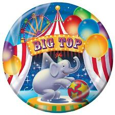 """Big Top Birthday Circus Clown Elephant Kids Party 9"""" Paper Dinner Plates"""