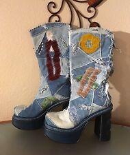 El Dantes Women Distresstd Denim Patchwork Boots, Spain , US Size 9-9,5