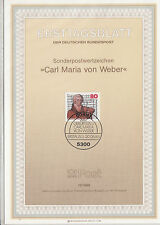 TIMBRE FDC ALLEMAGNE  BONN OBL ERSTTAGSBLATT CARL MARIA VON WEBER 1986