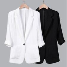 Womens Cotton Linen Lapel 3/4 Sleeve Slim Casual Suit Blazers Coats S-3XL Formal
