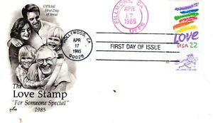 22 cent Love April 17 1985 FDC First Day Hollywood & unlisted Fillmore Artcraft