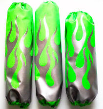 Shock Covers Arctic Cat DVX 400  Silver Flames on Neon Green ATV Set of 3