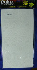 DIY 35 3D Numbers WHITE Fabric 35mmTallx18-30mmWide &Punctuation ThickerStickers
