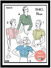1940s 4 Blouses Sewing Pattern Reproduction