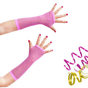 Netzhandschuhe Damen in Neon Pink  - Einheitsgröße - Party Fasching Karneval