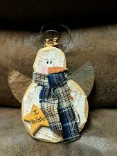 New Handmade Wooden Snowman Christmas Tree Holiday Ornament Decor Rustic
