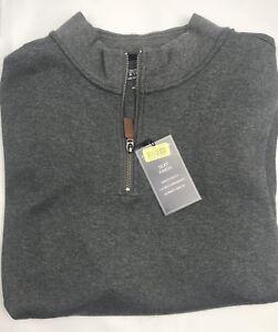 Roundtree & Yorke Mens 1/4 Zip Sweater Vest Gray Heather Silky Finish Cotton NEW