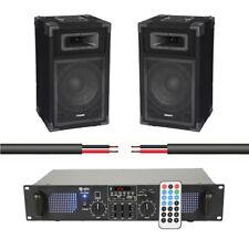 """Ibiza Sound 700W PA System DJ Disco Bluetooth USB 2 x 8"""" Speakers & Amp"""
