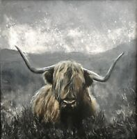 Grey Highlands, highland cow Giclee print, limited edition,original art painting