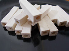 12pcs ( 50mm x 10mm) WOODEN Long Cuboid / Square TUBE Beads - Unpainted Natural