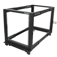 Startech.com 12u Adjustable Depth Open Frame 4 Post Server Rack W/ Casters /