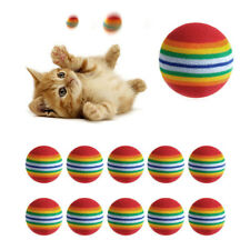 10 Pcs 3.5 CM Lovely Colorful Puppy Dog Cat Rainbow Ball  Pet Toy Pet Supplies