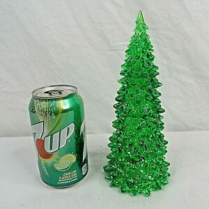 """Lighted Musical Christmas Tree 8"""" Accessory Acrylic Battery Tabletop Green"""
