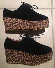 Lds Sz 6 1/2-7 Black Velvet Leopard Print Retro Lace Up Platform Heel Shoes