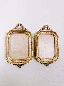 "Set Of 2 Rare Vintage BELGIUM GOLD Wood Picture Frames3 1/2"" x 2 3/4"" Image Area"