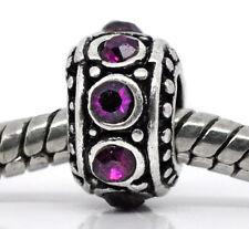 Purple Rhinestone February Birthstone Spacer Ring Bead for Euro Charm Bracelets