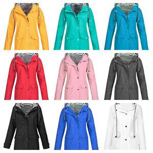 Plus Size Womens Waterproof Raincoat Windproof Rain Jacket Coat