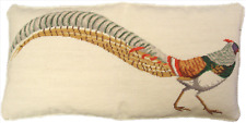 "15"" x 29"" Wool Needlepoint Bird Golden Pheasant in Green/Yellow Bolster Pillow"