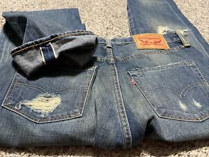 LEVI'S 501 STRAIGHT SELVEDGE BUTTON FLY DESIGNER MEN'S JEANS SIZE 30X32