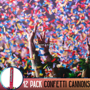 Confetti Cannon Large Party Popper Decorated Box Biodegradable Blaster (12 Pack)