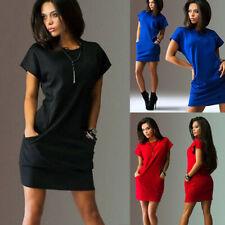 Womens Summer Casual Mini Dress Ladies Holiday Short Sleeve Plain T Shirt Dress