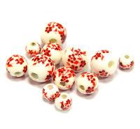 Porzellan Perlen Weiß mit Rot Blume 4mm 6mm 8mm Keramik Schmuck desing BEST R297
