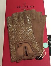 WOW! VALENTINO Gloves w/tags in Box Suede Nude Cream bow, rhinestone crystals