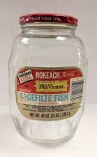 Vtg empty 48 oz Rokeach Old Vienna Gelfilte Fish glass barrel Jar container