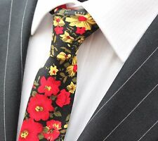 Tie Neck tie Slim Black with Red & Yellow Floral Quality Cotton T6138