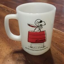 1965 ANCHOR HOCKING FIRE KING SNOOPY CURSE YOU RED BARON WHITE MILK GLASS MUG