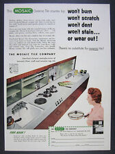 1955 Mosaic Ceramic Tile Counter Top mcm mid-century kitchen vintage print Ad