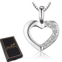 Herzkette Herz Halskette 925 Sterling Silber Damen ❤ Swarovski® Kristalle ❤ ETUI