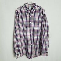 Brooks Brothers Slim Fit Mens Plaid Button Front Long Sleeve Shirt Size XL S330