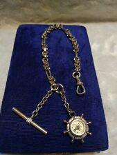 Antique Victorian T Bar Dog Clip Watch Fob Chain w/ Nautical Compass Bracelet?