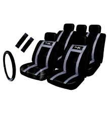 Leather Look black / Grey Seat Cover Set Racing wheel Glove Seat Belt Pads car