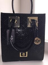 Christian LaCroix Handbag Black Patent Leather Large Rectangular NEW! *HTF*