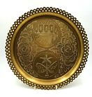 Vintage Antique Indian hand made engraved round serving tray   Lovely condition