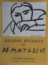 """""""MATISSE: DESSINS RECENTS /EXPOSITION MAEGHT 1952"""" Affiche originale entoilée"""