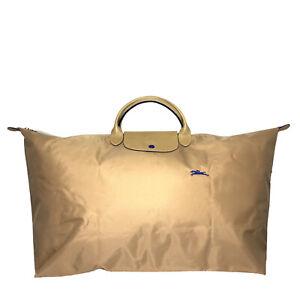 LONGCHAMP Le Pliage Nylon Travel Duffle Tote Bag Beige Blue XL (MSRP $170)