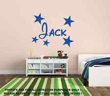 Personalised Name & Stars Wall Art Boys Room Childrens Kids Sticker Vinyl mural