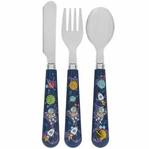 3 Piece Spaceman Plastic Spoon Fork Knife Kids Children Rocket Space Cutlery Set