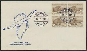 GREENLAND. FDC 1973 February 15. 10 Kr. Walrus, block of 4 (PK1293)