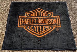 Harley Davidson Blanket Biederlack Throw Reversible Black / Orange 50x58