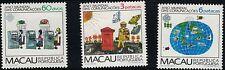 Macau SC469-471 WorldCommunicationsYear-Animation-Tel.Operators-Mailmen-etc.1983