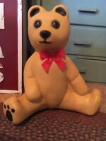 Christmas  Blow Mold Bear Tan With Red Bow  Black Paws Lighted Decoration Union